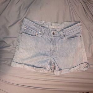 Light Blue/White Striped Levi Shorts